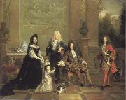 French school Louis XIV and his Heirs oil