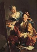 Georges desmarees Self-Portrait wiht his Daughter,Maria Antonia oil painting picture wholesale
