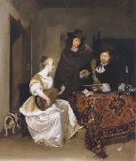 Gerhard ter Borch A Woman playing a Theorbo to two Men oil painting artist
