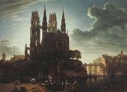 Karl friedrich schinkel Gothic Cathedral by the Waterside (mk450 oil painting artist