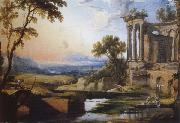 Pierre Patel Landscape with a Colonnade,Washerwomen and Shepherds oil painting picture wholesale