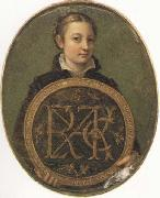 Sofonisba Anguissola Self-Portrait Holding a Medallion with the Letters of her Father s Name, oil painting artist