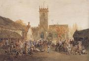 William Henry Pyne The Pig Market,Bedford with a View of St Mary's Church (mk47) oil painting artist