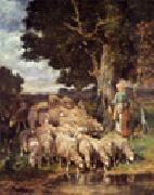 unknow artist Sheep and Sheepherder oil painting picture wholesale
