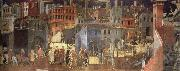 Ambrogio Lorenzetti The Effects of Good Government in the city oil painting