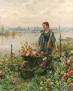 Daniel Ridgeway Knight Gathering Flowers oil painting picture wholesale