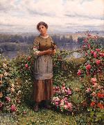 Daniel Ridgeway Knight Julia Gathering Roses oil painting picture wholesale