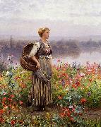 Daniel Ridgeway Knight The flower girl oil painting picture wholesale