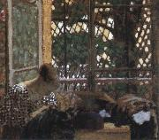 Edouard Vuillard woman sewing before a garden oil painting picture wholesale