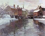 Frits Thaulow snow covered buildings by a river oil painting artist