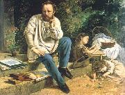 Gustave Courbet Proudhon and his children oil painting picture wholesale