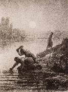 Jean Francois Millet Peasant washing the clothes oil painting picture wholesale