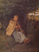 Jean Francois Millet Shepherdess sewing the sweater oil painting picture wholesale