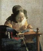 Johannes Vermeer Lace embroidery woman oil painting picture wholesale