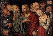 Lucas Cranach the Younger Christ and the Woman Taken in Adultery oil painting