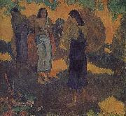 Paul Gauguin Yellow background, three women oil painting reproduction