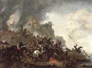 Philips Wouwerman cavalry making a sortie from a fort on a hill oil painting picture wholesale