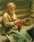 Anders Zorn Dalecarlian Girl Knitting. Cabbage Margit, oil painting reproduction
