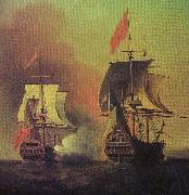 Samuel Scott Capture of the Spanish Galleon Nuestra Senora de Cavagonda by the British ship Centurion during the Anson Expedition oil painting artist
