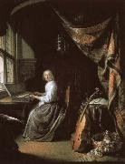 christian schubart a 17th century dutch painting by gerrit dou of woman at the clvichord. oil painting picture wholesale