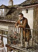 franz von schober an idealized porrait of the composer on his balcony oil painting picture wholesale