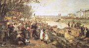 robert schumann viennese street csene during the of brahms  the fruit market on the quayside near the maria theresa bridge oil painting picture wholesale
