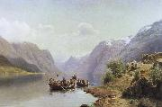 unknow artist brudfard pa hardangerfjorden oil painting picture wholesale