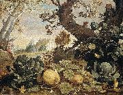 Abraham Bloemaert Landscape with fruit and vegetables in the foreground oil