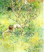 Carl Larsson naken flicka under prunusbusken oil painting reproduction
