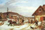 Cornelius Krieghoff The Toll Gate, oil painting