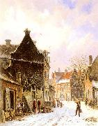 Adrianus Eversen A Village Street Scene in Winter oil painting
