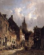 Adrianus Eversen A Dutch Street Scene oil painting