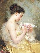 Charles Joshua Chaplin A Beauty with Doves oil painting reproduction