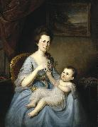Charles Willson Peale Mrs David Forman and Child oil