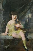 Douglas Volk Young Girl in Yellow Dress Holding her Doll, oil painting artist