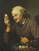 Hendrick Bloemaert Old woman selling eggs. oil