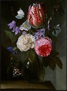 Jan Philip van Thielen Roses and a Tulip in a Glass Vase. oil painting artist