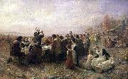 Jennie A. Brownscombe The First Thanksgiving at Plymouth oil