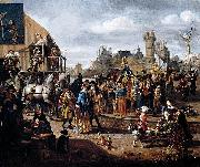 Matthys Naiveu Carnival Scene oil painting artist