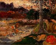 Paul Gauguin Tahitians on the Riverbank oil painting reproduction