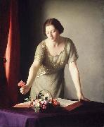 William McGregor Paxton Girl Arranging Flowers oil painting artist