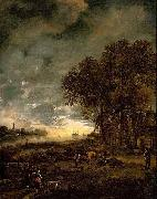 Aert van der Neer A Landscape with a River at Evening oil painting artist