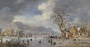 Aert van der Neer A winter landscape with skaters and kolf players on a frozen river, oil painting artist