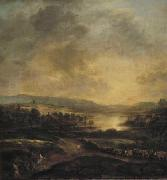 Aert van der Neer Hilly landscape at sunset oil painting artist
