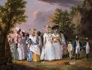 Agostino Brunias Free Women of Color with their Children and Servants in a Landscape oil
