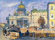 Alexander Nasmyth At the Isaakievskaya Square in Leningrad oil painting