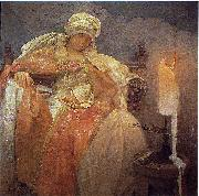 Alfons Mucha Woman With a Burning Candle oil painting