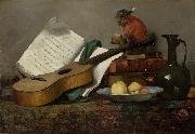 Antoine Vollon Still Life with a Monkey and a Guitar oil painting