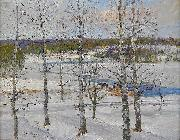 Anton Genberg Winter landscape of Norrland with birch trees oil painting