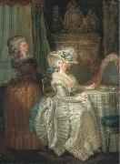 Attributed to henry pether Dame elegante a sa table de toilette avec une servante oil